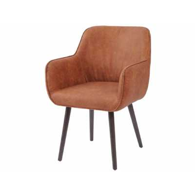 Tan Brown Leather Look Retro Carver Dining Chair with Arms Black Tapered Legs