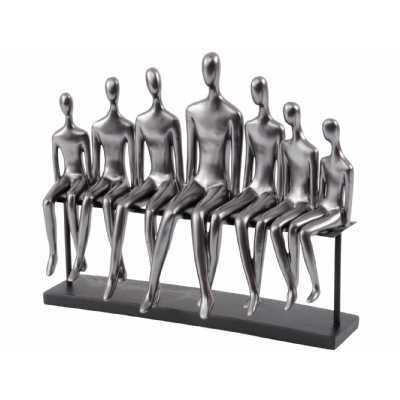 Figures on a Bench Sculpture In Gunmetal Grey
