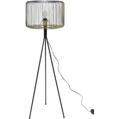 Tova Black Painted Decorative Tripod Floor Lamp with Gold Detailed Wire Shade E27 40W