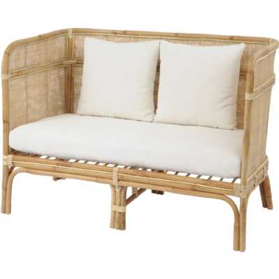 Toba Natural Rattan Conservatory Bench with High Wrap Round Back and Seat Cushions