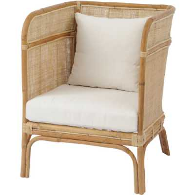Toba Natural Rattan Occasional Chair with High Wrap Round Back