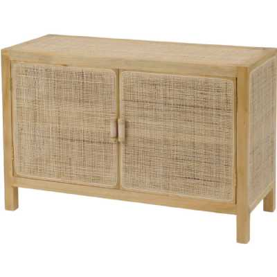 Toba Natural Rattan and Cane Lacquered 2 Door Storage Cabinet Cupboard
