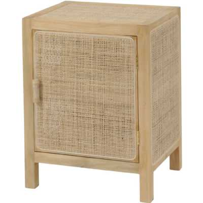 Toba Natural Rattan and Cane Small Bedside Table Storage Side 1 Door Cabinet 65x50x40cm