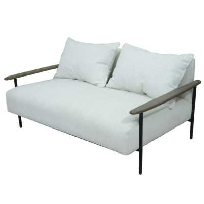 Foundry Pale Grey Upholstered Two Seater Sofa With Wooden Arm And Steel Frame