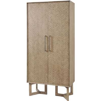 Dowell Tall 2 Door Mindi Wood Double Storage Cabinet with Parquety Design