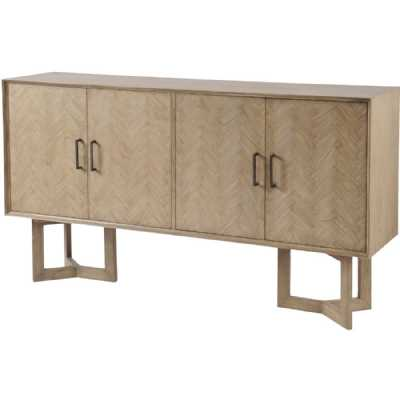 Large Art Deco 4 Door Mindi Wooden Sideboard Buffet Cabinet with Parquetry Design