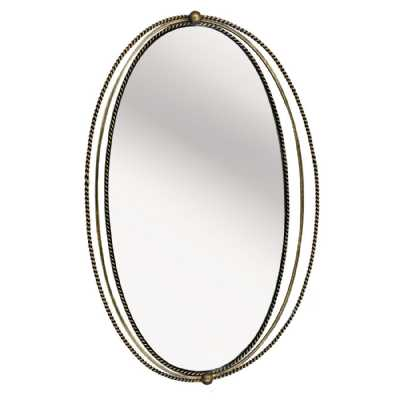 Traditional Carrick Oval Gold Iron Wall Mirror with Fine Rope Detail Frame