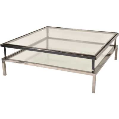 Belgravia Stainless Steel and Glass Square Coffee Table 120x120x42cm