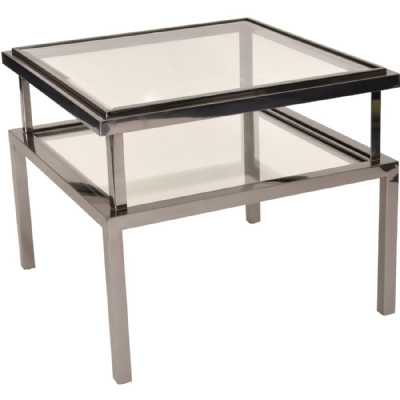 Belgravia Stainless Steel and Glass Square Side Table 65x65x55cm