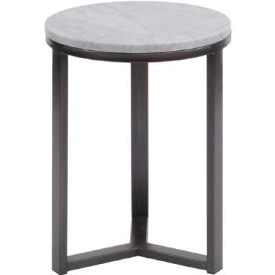 Fitzroy Pale Grey Carrara Marble and Bronze Powder Coated Contemporary Side Table