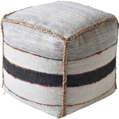 Crinan Hand Woven Pit Loom Natural Charcoal And Multi Colour Hemp Pouffe