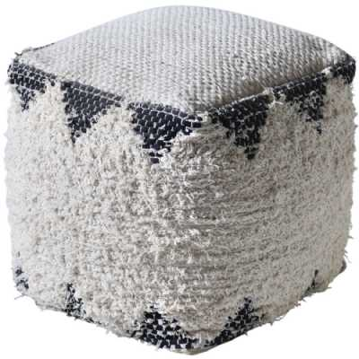 Dizy Hand Woven Pit Loom Ivory And Charcoal Recycled Cotton Pouffe