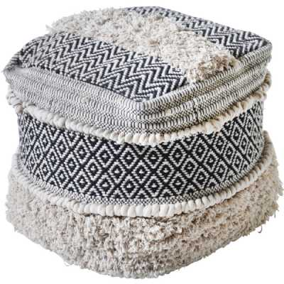 Gedser Hand Woven Pit Loom Ivory And Charcoal Cotton Pouffe