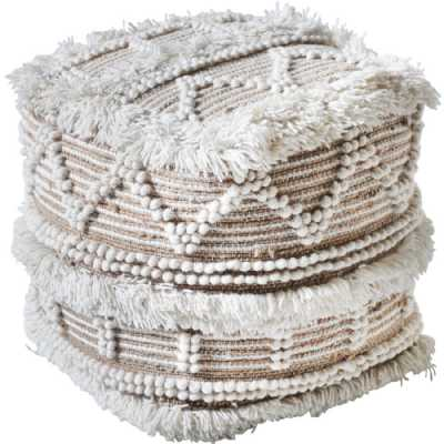 Isaba Hand Woven Pit Loom Natural And lvory Wool Pouffe
