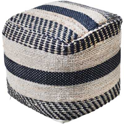 Kellen Hand Woven Pit Loom Charcoal And Natural Hemp Pouffe