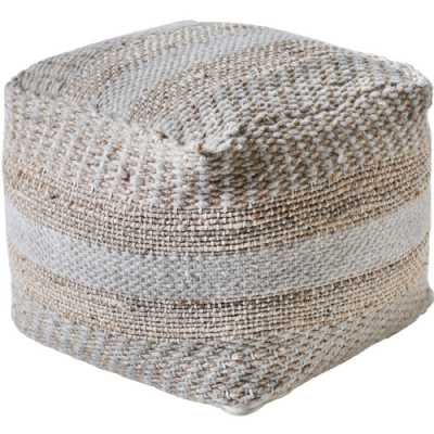 Kellen Hand Woven Pit Loom Ivory And Natural Hemp Pouffe