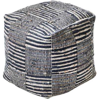 Kose Hand Woven Pit Loom Charcoal And Natural Hemp Pouffe