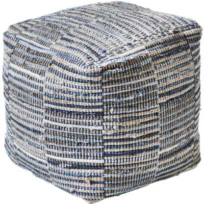 Kose Hand Woven Pit Loom Blue And Natural Hemp Pouffe