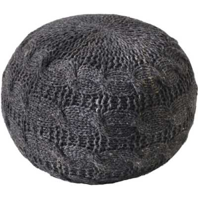 Laval Hand Knitted Round Charcoal Wool Pouffe