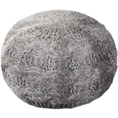 Laval Hand Knitted Round Linen Wool Pouffe