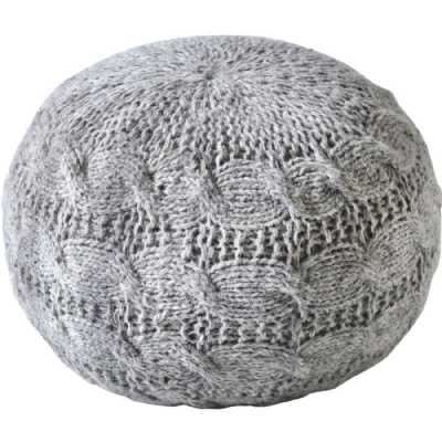 Laval Hand Knitted Round Grey Wool Pouffe