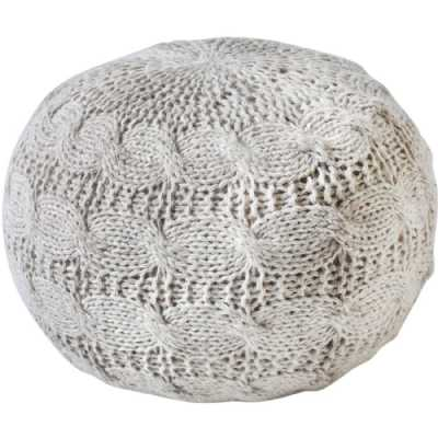 Laval Hand Knitted Round Ivory Wool Pouffe