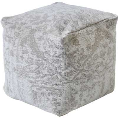 Ovisi Jacquard Woven Ivory And Grey Cotton Pouffe
