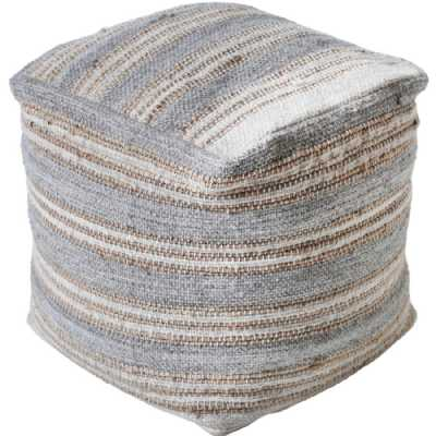 Raalte Hand Woven Pit Loom Natural And Grey Hemp Pouffe