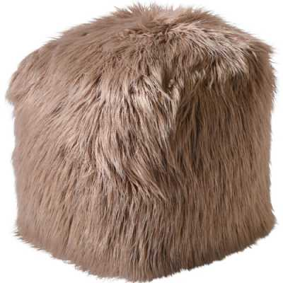 Isaba Hand Made Taupe Hairy Pouffe