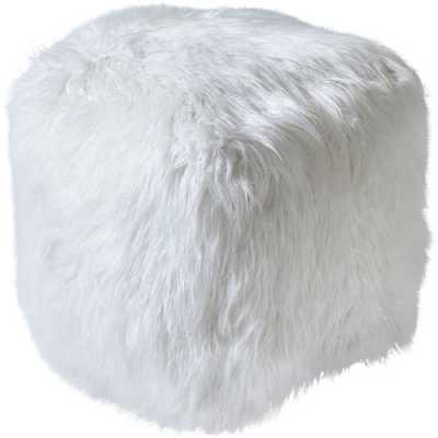 Isaba Hand Made Ivory Hairy Pouffe