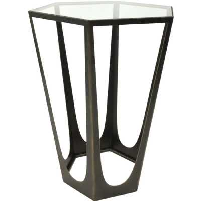Catalan Bronze Gilded Side Table with Glass Top
