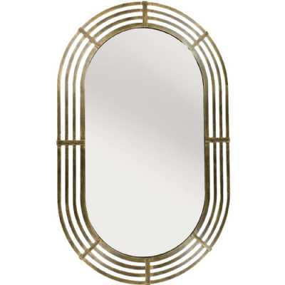 Lalique Gold Metal Oval Mirror 109cm height