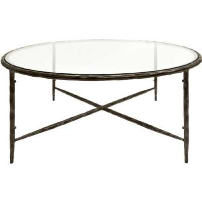 Patterdale Hand Forged Round Coffee Table Oak Wood Finish with Glass Top