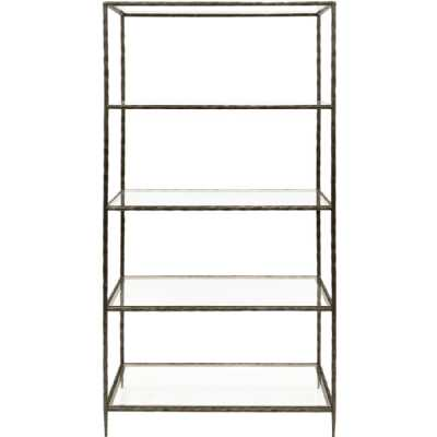 Patterdale Hand Forged Shelving Unit Table Oak Wood Finish with Glass Shelves