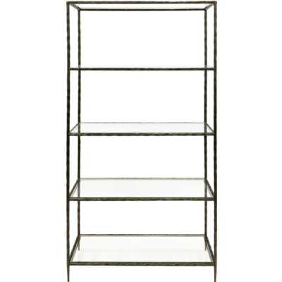 Patterdale Hand Forged Shelving Unit Table Dark Bronze with Glass Shelves