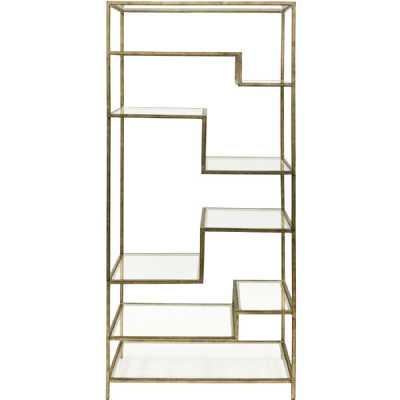 Ullswater Iron Shelving Unit Aged Champagne Finish with Floating Glass Shelves