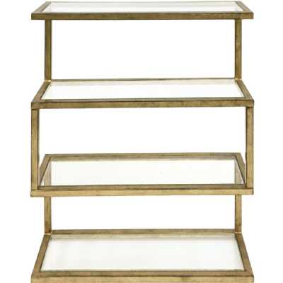 Ullswater Iron Four Shelf Wall Unit Aged Champagne Finish with Glass Shelves