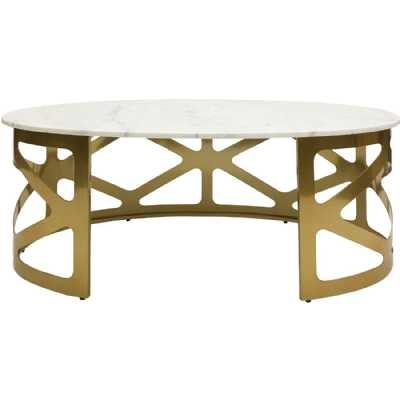 Metropolitan Coffee Table Metallic Champagne Finish with OffWhite Marble