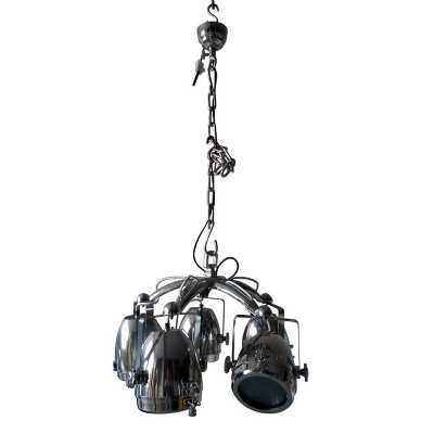 Vintage Industrial Chrome Steel Pendant Light with Five Lamp Cluster