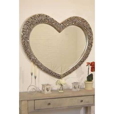 Large Silver Rose Heart Wall Mirror