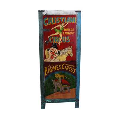 Circus Carnival Hand Painted Colourful Vintage Circus 1 Door Tall Storage Cabinet
