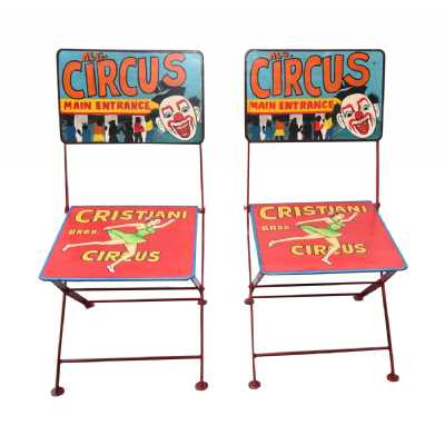 Carnival Hand Painted Multi Coloured Iron Metal Circus Folding Chair