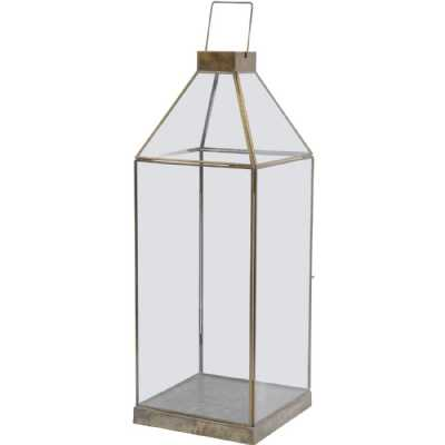 Glass Lantern with Gold Metal Frame Large