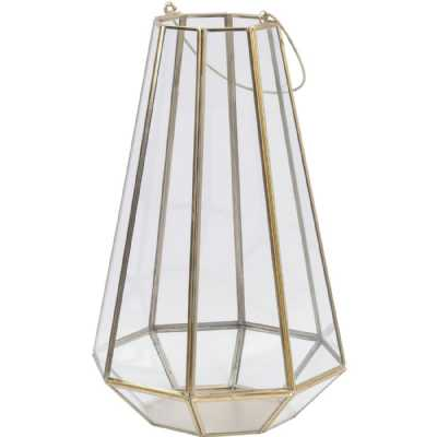 Octagonal Glass Lantern with Gold Metal Frame Large