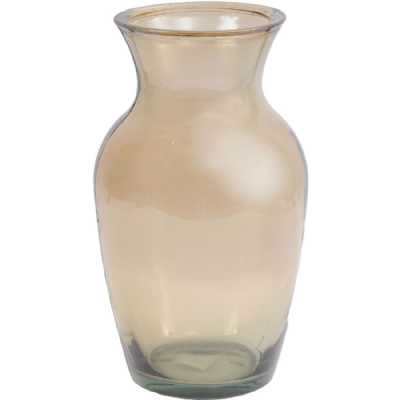 Fluted Recycled Glass Vase in Brown