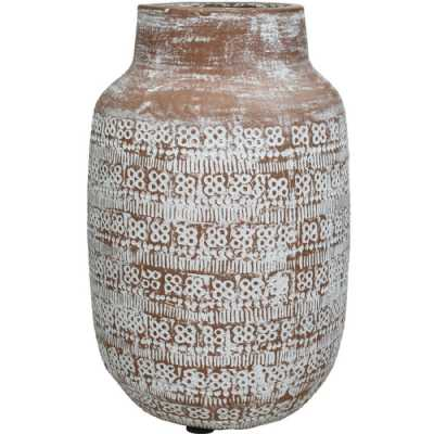 Patterned Terracotta Vase in Brown and White Large