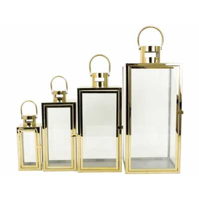 Emsley Set Of Four Gold Steel Lanterns
