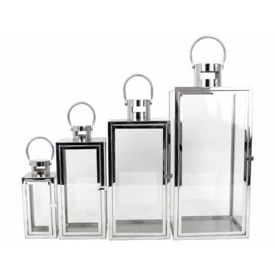 Emsley Set Of Four Silver Steel Lanterns