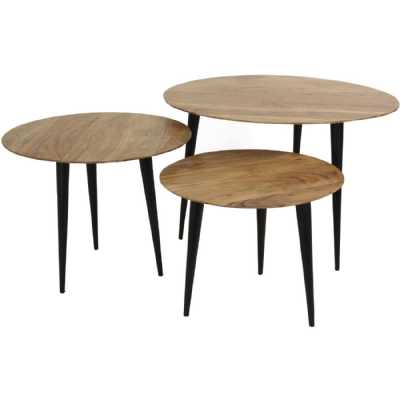 Natural Brown and Black Wooden Nesting Tables Set of 3 Farmhouse Style