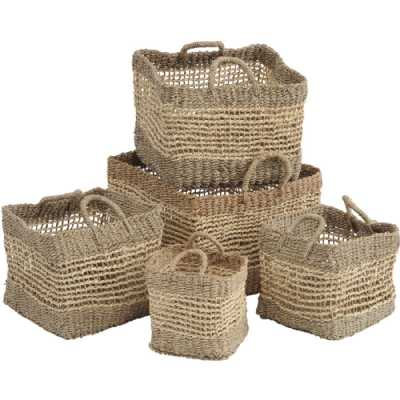 Assorted Set of 5 Natural Woven Seagrass Square Storage Baskets with Handles